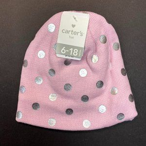 Carter's Baby Hat & Mitten Set - Pink Metallic Dot